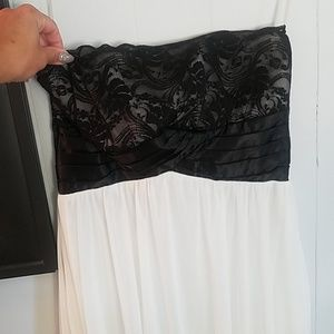 Strapless mini dress with black lace top